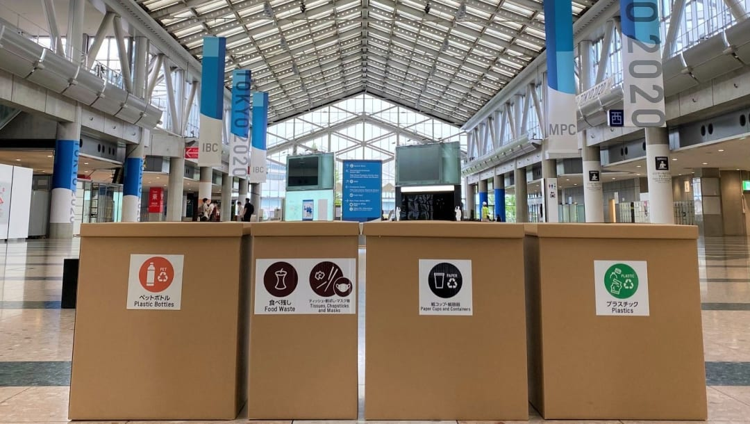 Caixas de lixo para reciclagem: todas as sedes de eventos olímpicos terão recipientes e voluntários orientando o despejo correto (Foto: Divulgação)