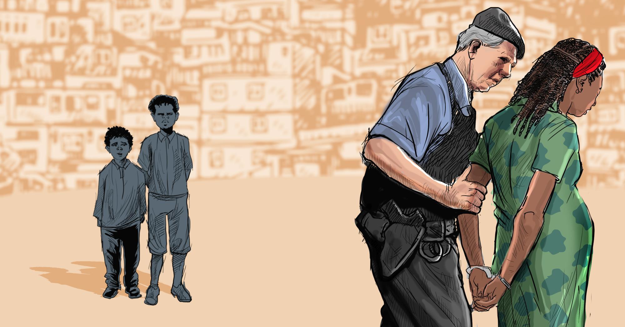 Mula do tráfico de drogas: vulneráveis, mulheres são escolhidas por quadrilhas para transporte de entorpecentes (Ilustração: Claudio Duarte)
