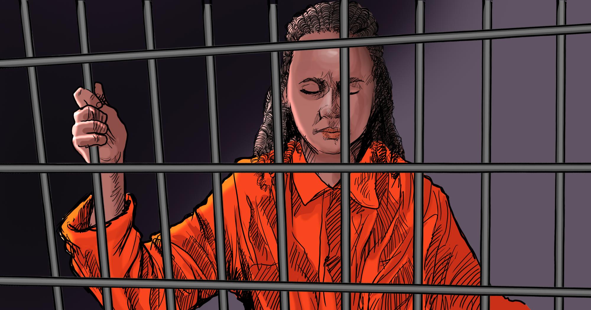 Sandra ficou 30 meses na penitenciária em Recife sem receber uma única visita, sem ver seus pais e filhos (Ilustração: Claudio Duarte)